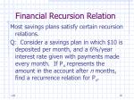 financial recursion relation