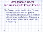 homogeneous linear recurrences with const coeff s