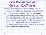 linear recurrences with constant coefficients