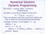 numerical solutions dynamic programming