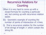 recurrence relations for counting