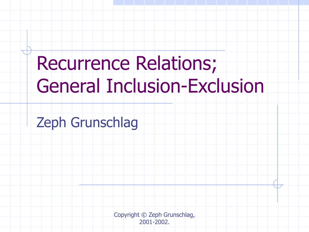 recurrence relations general inclusion exclusion l.