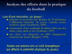 analyse des efforts dans la pratique du football