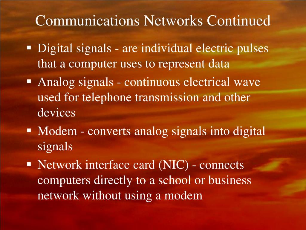 Communications Networks Continued
