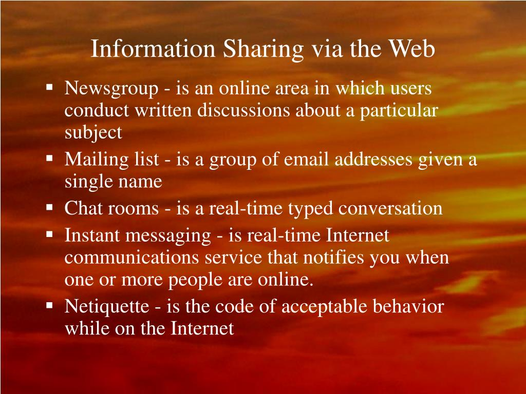Information Sharing via the Web