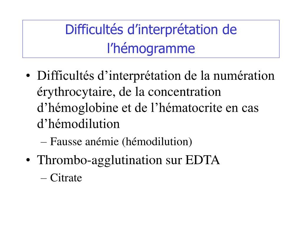 Difficultés d'interprétation de l'hémogramme