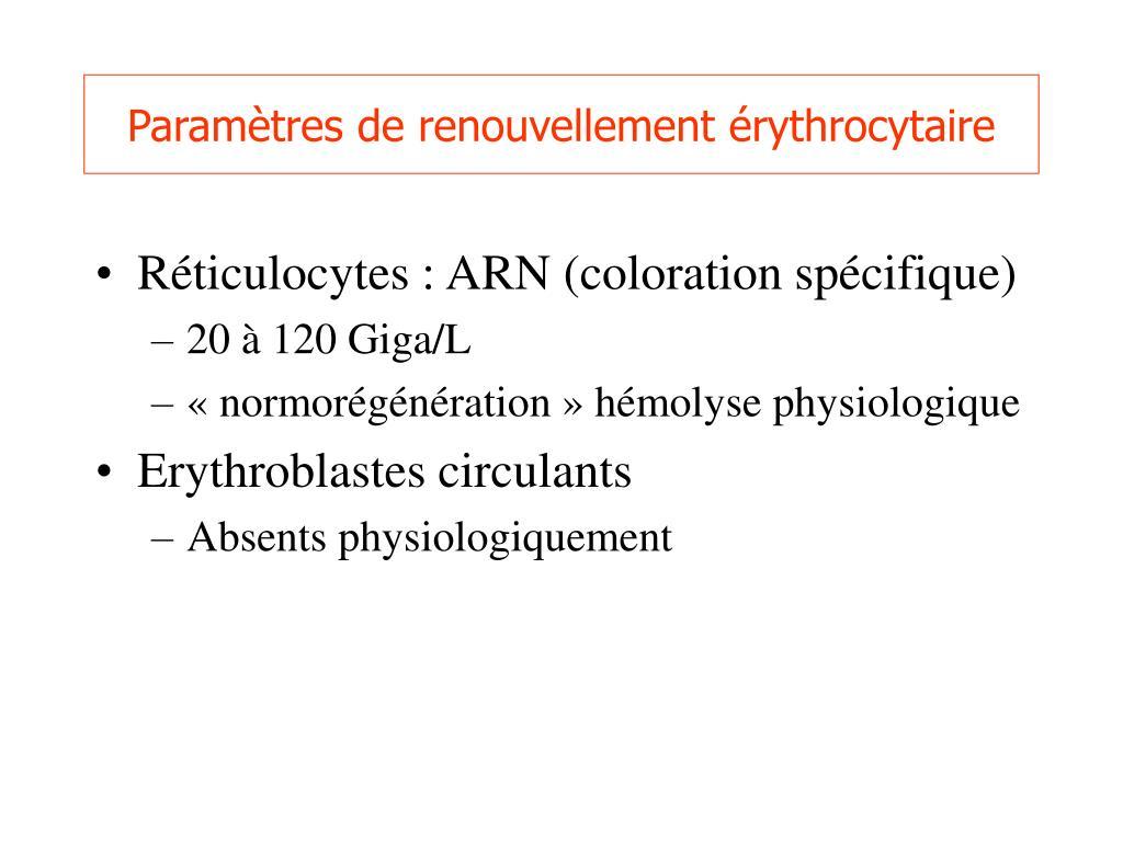 Paramètres de renouvellement érythrocytaire