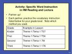 activity specific word instruction in hm reading and lectura