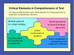 critical elements in comprehension of text