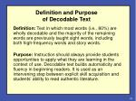 definition and purpose of decodable text