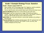 grade 1 example strategy focus question