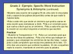 grado 2 ejemplo specific word instruction synonyms antonyms continued