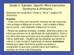 grado 2 ejemplo specific word instruction synonyms antonyms