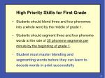 high priority skills for first grade
