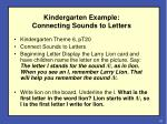 kindergarten example connecting sounds to letters