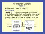 kindergarten example dictation