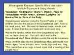 kindergarten example specific word instruction multiple exposure using visuals