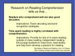 research on reading comprehension tells us that