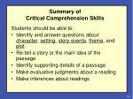 summary of critical comprehension skills