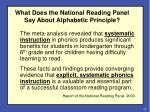 what does the national reading panel say about alphabetic principle