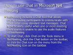 how to use chat in microsoft net meeting
