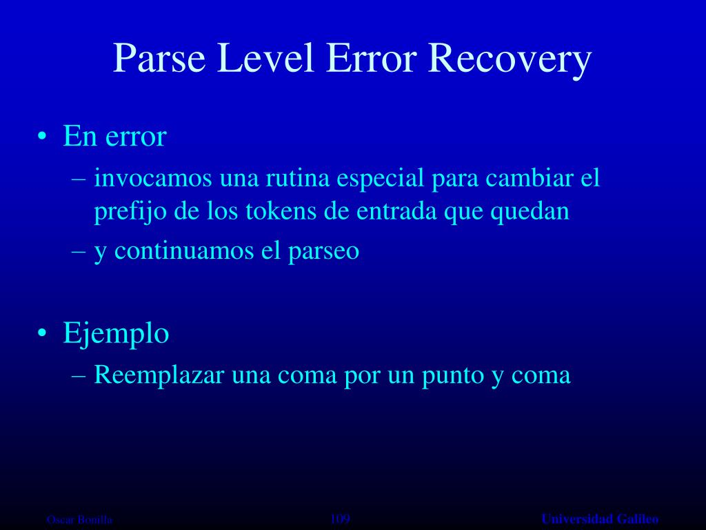 Parse Level Error Recovery