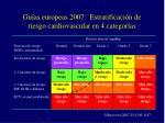 gu as europeas 2007 estratificaci n de riesgo cardiovascular en 4 categor as