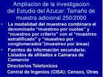 ampliacion de la investigacion del estudio del azucar tama o de muestra adicional 250 2000