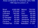 areas sembradas en hect reas zafra 1998 1999 algunos paises l a