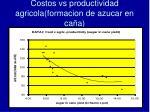costos vs productividad agricola formacion de azucar en ca a