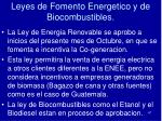 leyes de fomento energetico y de biocombustibles