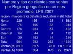 numero y tipo de clientes con ventas por region geografica en un mes promedio lps 2007