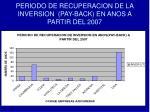 periodo de recuperacion de la inversion pay back en anos a partir del 2007
