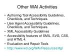 other wai activities
