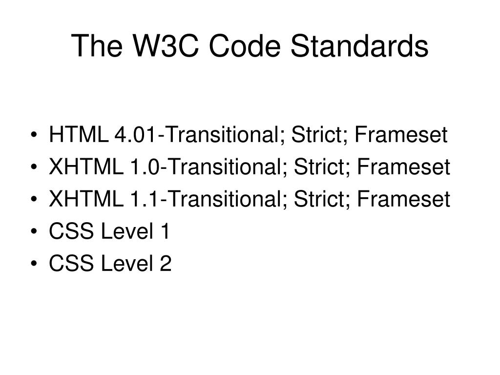 The W3C Code Standards