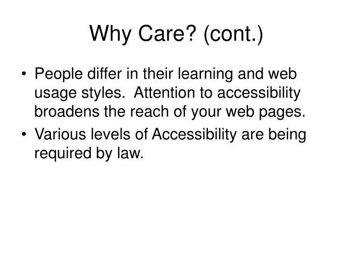 Why care cont