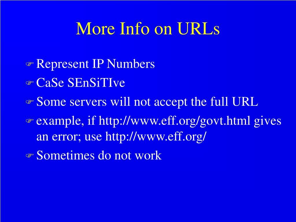 More Info on URLs