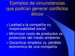 ejemplos de circunstancias que podr an generar conflictos ticos