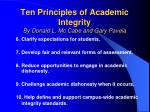 ten principles of academic integrity by donald l mc cabe and gary pavela42