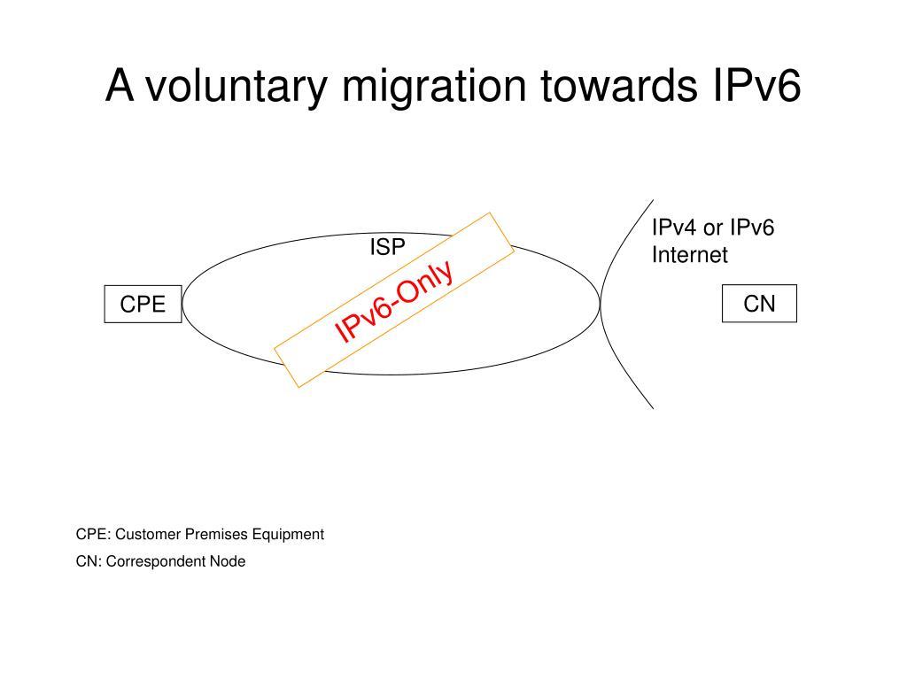 A voluntary migration towards IPv6