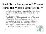 each brain perceives and creates parts and wholes simultaneously