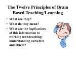 the twelve principles of brain based teaching learning