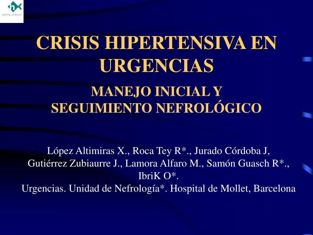 crisis hipertensiva en urgencias l.