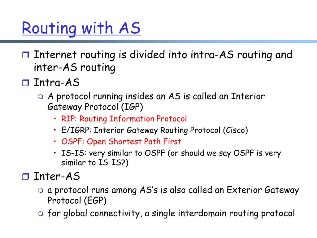 Routing with AS