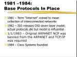 1981 1984 base protocols in place