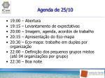 agenda de 25 10