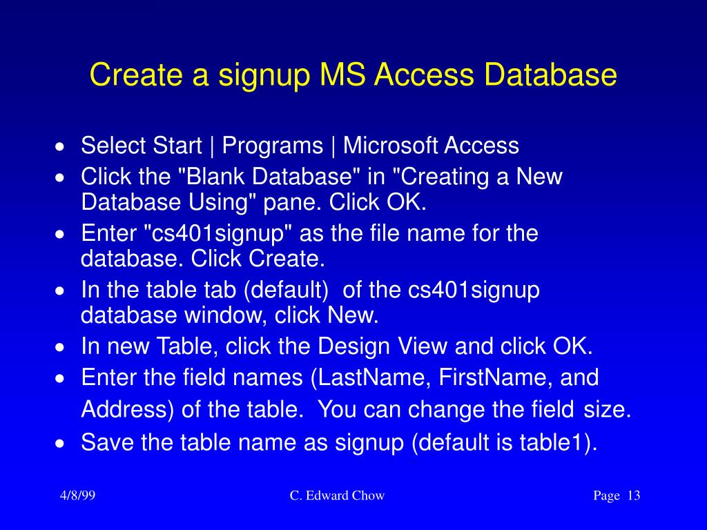 Create a signup MS Access Database