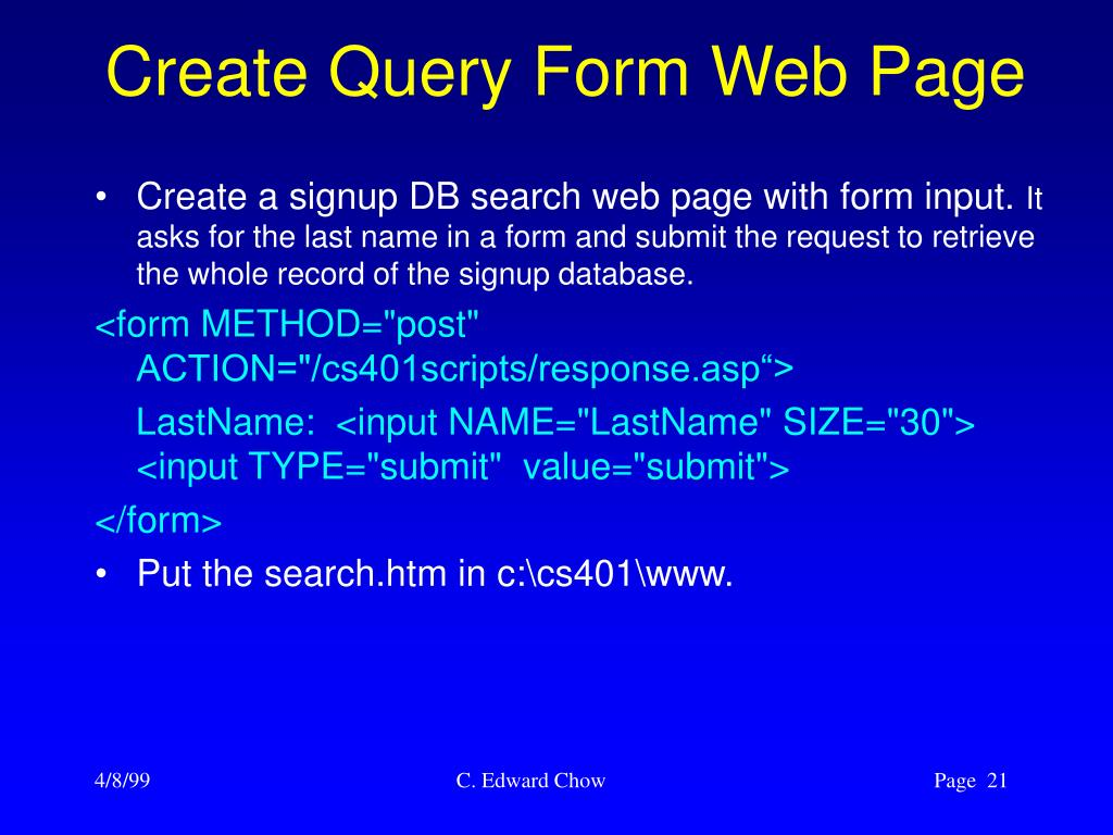 Create Query Form Web Page
