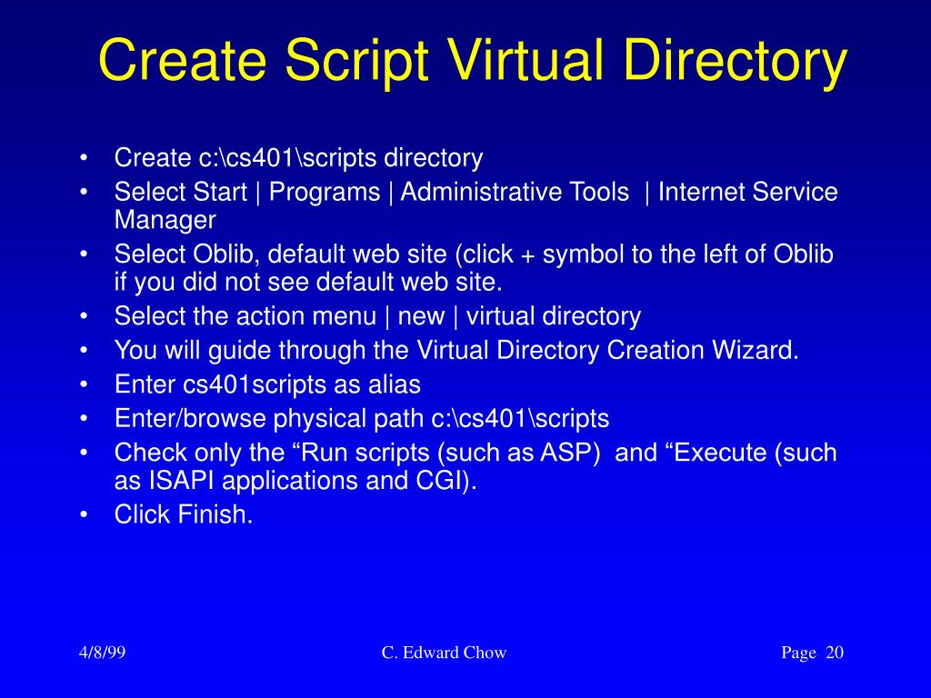 Create Script Virtual Directory