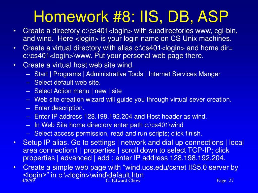 Homework #8: IIS, DB, ASP
